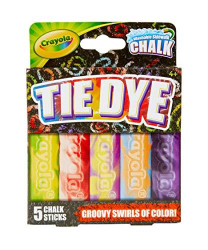 Crayola Washable Tie Dye Sidewalk Chalk, 5 Anti-Roll Chalk Sticks, Outdoor Toy, Gift