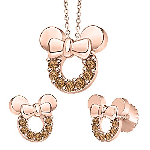 (tusakha Minnie Mouse Bow Pendant Necklace Earrings Set Smoky Quartz 14k Rose Gold Over .925 Sterling Silver for Womes Girls)