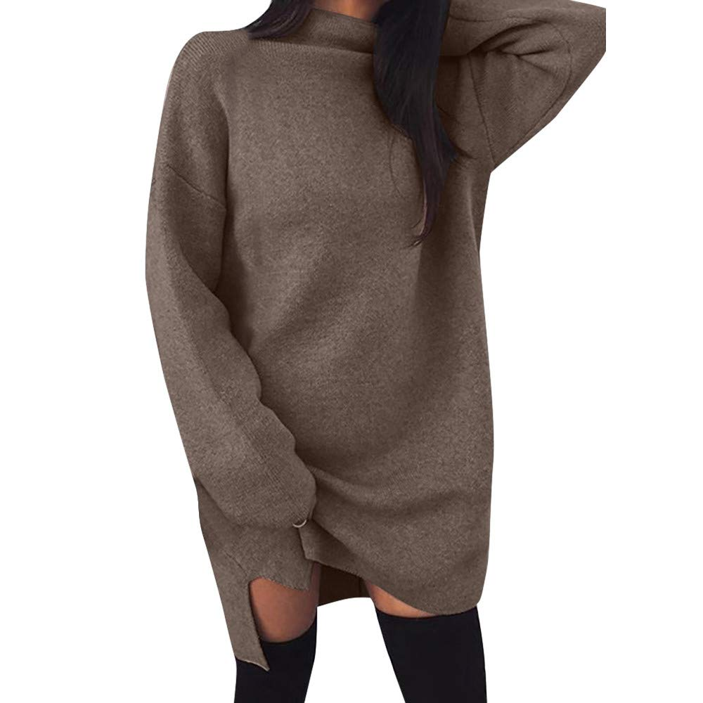 HHmei Womens Loose Casual Turtleneck Long Sleeve Solid Mini Dress Evening Party Dress