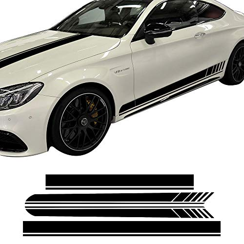 (charminghorse Edition 1 Side Skirt Hood Roof Racing Stripe Yellow/Black/5D Carbon Vinyl Decals for Mercedes Benz C63 Coupe W205 AMG C200 C250 (Gloss Black Set))