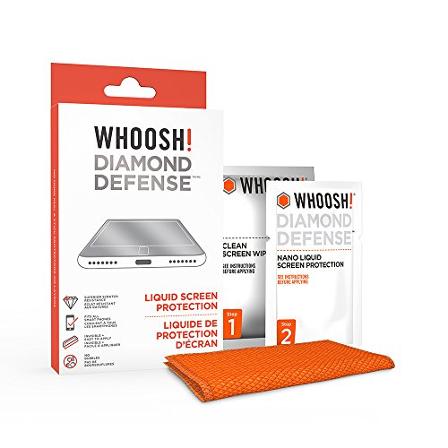 WHOOSH! Diamond Defense - Superior Nano Liquid Screen Protector Wipe, Easy Application, No Bubbles/Streaks, Hardens Glass - Fits All Screens ;Phones or Tablets