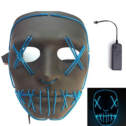MineSign Light up Mask Novelty LED Cosplay Masks Horror El Wire Costumes Mask for Men and Women Halloween Party Masquerade Carnivals for $<!--$16.99-->
