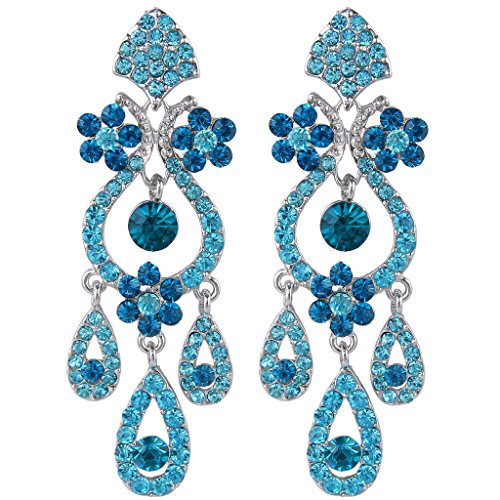 EVER FAITH Bridal Silver-Tone Flower Vase Chandelier Pierced Dangle Earrings Austrian Crystal Blue ()
