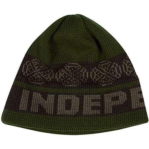(Independent Men's Woven Crosses Beanie Hats,One Size,Olive/Black)