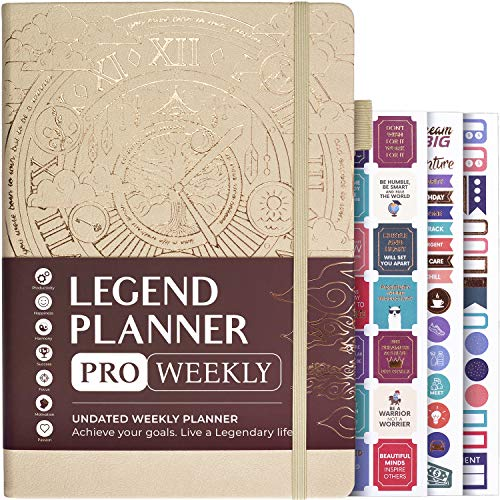 """Legend Planner PRO - Deluxe Weekly & Monthly Life Planner to Increase Productivity and Hit Your Goals. Time Management Organizer Notebook - Undated - 7 x 10"""" Hardcover + Stickers - Seashell"""