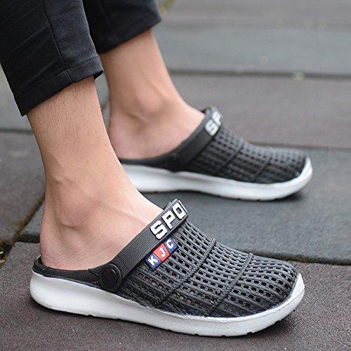 Xing Lin Flip Flop De La Playa Agujero Verano Media Masculina Zapatos Zapatillas Casual Hueca Transpirable Calzado De Playa Marea Zapatillas Sandalias Parejas Hombres black