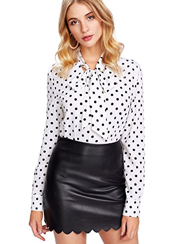 (Floerns Women's Bow Tied Neck Lantern Long Sleeve Polka Dot Blouse White-1 XS )