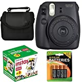 Fujifilm Instax Mini 8 Instant Film Camera (Black) With Fujifilm Instax Mini 5 Pack Instant Film (50 Shots) + Compact Bag Case + Batteries Top Kit - International Version (No Warranty)
