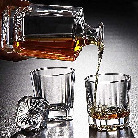 Decantador de vino de cristal hecho a mano, Skull Glass Vino Decantador y gafas Conjunto de whisky cuadrado de 5 piezas ANTER de whisky de 5 piezas para escocés, bourbon, brandy, vodka con una botella