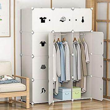 DIY - Armario portátil, multifuncional con armario modular, estantes de almacenamiento, mueble de almacenamiento con 12 puertas para ropa, zapatos, juguetes, libros, joyas, blanco, 108 x 37 x 145 cm: Amazon.es: Hogar