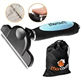 MarcosM Dog Brushes for Shedding - Professional Deshedding Tool for Dogs and Cats with Blade and Fur Ejector Button and Drawstring Storage Pouch (L, Blue)