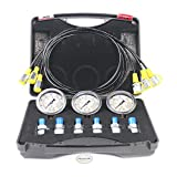 #10: Hydraulic Pressure Test Kits - SINOCMP Hydraulic Gauge Set, 6 Couplings, 3 160cm Long Test Hoses and 3 Pressure Gauge 10/25/40 MPA for Excavator Construction, 1.7KG, 2 Year Warranty