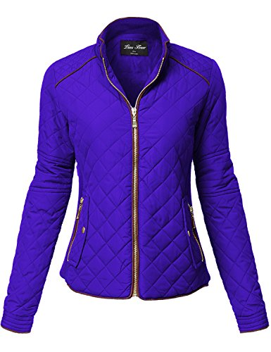 Luna Flower Winter Quilted Padding Vest Long Sleeve Warm Jackets 123-Royal Large (Bleach 123)