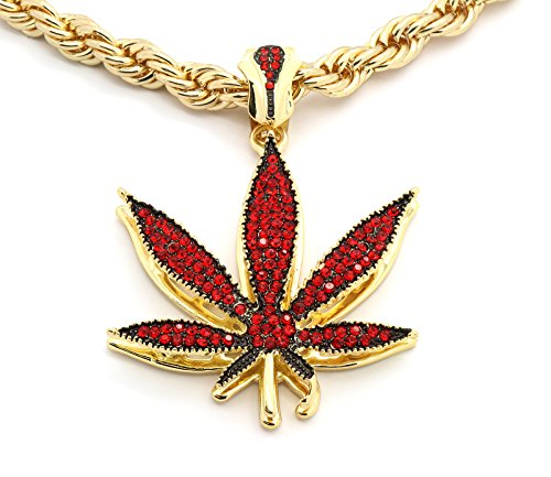 Mens Large Gold Tone Red Cz Stone Marijuana with 30