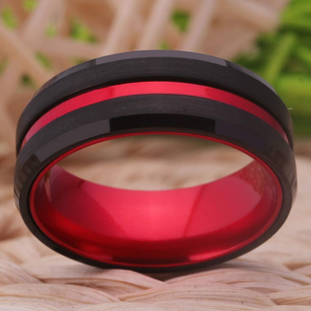 Cloud Dancer 8mm Width Thin Red Groove Black Brushed Tungsten Carbide Wedding Band Ring Comfort Fit Size 6-13