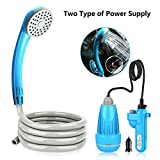 Riigoo Portable Camping Shower Blue Camping Shower Outdoor Shower Pump Camp Shower Handheld Camping Showerhead Powered by Detachable USB Rechargeable Battery or Car Cigarette Lighter, 1 Year Warranty
