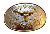 JK Trading Men's Western Bull Giant Belt Buckle One Size Gold Silver offers