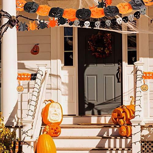 Koogel Halloween Deko Set, 6 STK. Halloween Girlande Spinne Girlande Kürbis Banner Papier Hängendeko für Karneval Halloween Party Garten