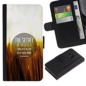 """Samsung Galaxy S3 MINI / i8190 (Not For Galaxy S3) , la tarjeta de Crédito Slots PU Funda de cuero Monedero caso cubierta de piel ("""" Secret Success Love Work Life Quote Motivation"""")"""
