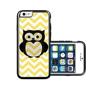 RCGrafix Brand Owl lemon yellow Chevron black iPhone 6 Case - Fits NEW Apple iPhone 6