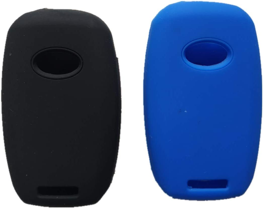 Silicone Smart Key Fob Covers Case Protector Keyless Remote Holder for Kia Sorento Sportage Rio Soul Forte Optima Carens (Not Fit Smart Key Fob) Black and Blue