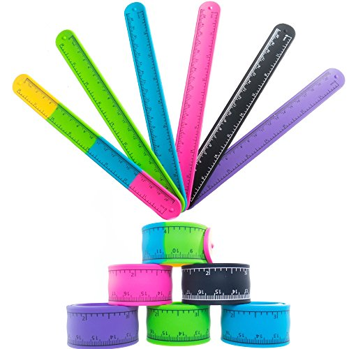 Slap Bracelets Toys for Kids, Girls, Boys 12 PCs - Silicone Wrist Ruler Snap Bracelet - Tape Measure Style for Education and Sensory - Great Birthday Party Favors - Supplies - School Prizes and Gifts -