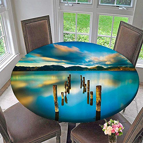 Mikihome Round Polyester Tablecloth Table Cover Surreal Landscape with Wood Deck and Clouds in Sky Coastal ChaBathroom 47.5