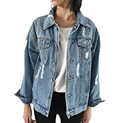 Aiweijia Women S Coats Long Sleeve Blue Denim Denim Jacket Ripped With Pockets