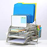 Sunrising International Stainless Steel Modular Office Desk File Sorter and Organizer with Whiteboard, features 6 Tiered Wire File Holders, 2 Sliding Trays, Pen/Pencil Holder