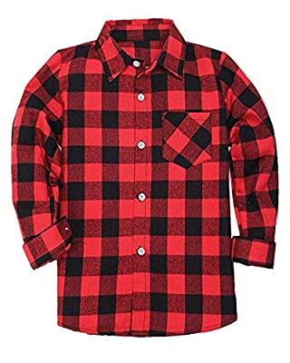 SANGTREE Boys' & Men's Plaid Flannel Button Down Shirt, 18Months -Adult Men XL