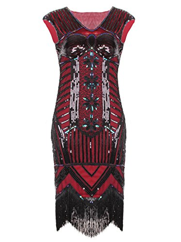 Vijiv 1920s Vintage Embellished Sequined Art Nouveau Deco Fringe Flapper Dress