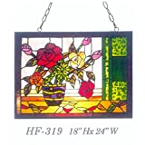 HF-319 Tiffany Style Stained Glass Blooming Flower with Vase Rectangle Window Hanging Glass Panel Sun Catcher, 18''Hx24''W