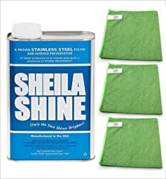 Shelia Shine - Stainless Steel Cleaner and Polish 1 Qt Can (1EA) Bundle with (3PK) Microfiber Cloth (4 ITEMS)