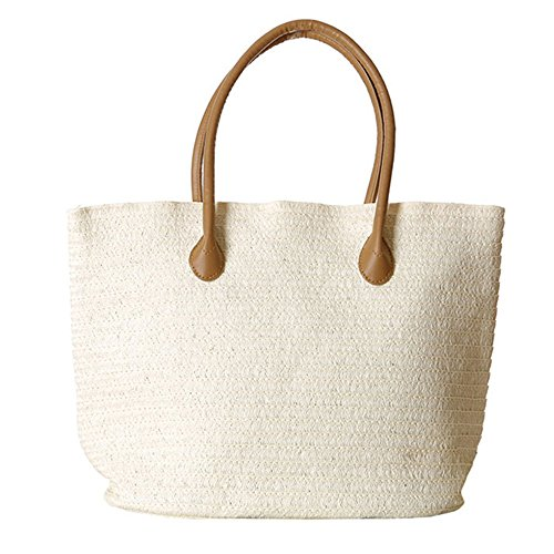 Women's Classic Straw Summer Beach Shoulder Bag Handbag Tote With PU Leather Straps Handmade Purse White