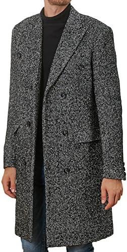 Hanayome Men's Outwear Double Breasted Notch Lapel Long Winter Herringbone Jacket Coat