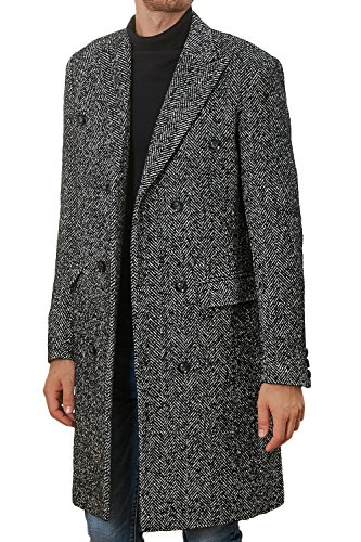 Hanayome Men's Outwear Double Breasted Notch Lapel Long Winter Herringbone Jacket Coat SI127 (Grey, - Coat Herringbone Tweed