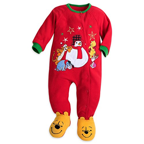 Disney Store Winnie The Pooh Blanket Sleeper Christmas Holiday Fleece Red 2017 (0-3)