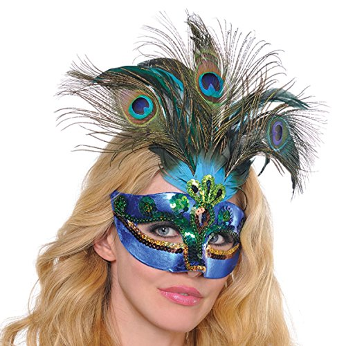 Amscan Womens Peacock Feather Mask (365712) Halloween Costume Accessory (Face Mask Peacock)
