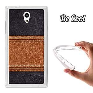 BeCool® - Funda Gel Flexible Zopo Flash S ZP920 BeCool Cuero Línea Marrón Carcasa Case Silicona TPU Suave