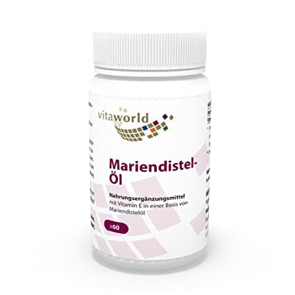 Aceite de Cardo Mariano 1000mg 60 Cápsulas - Vita World Alemania Cardo Lechoso