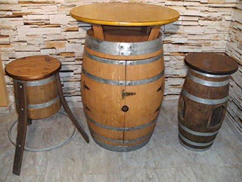 JUNIT BORDEAUX-Fasstisch+4 Fass-Barhocker-Rustika T.P.D.80cm, H.110cm
