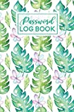 Password Log Book: Watercolor Tropical Palm Leaf Pattern | Internet Password Keeper Journal | Online Username Login Notebook Organizer | Hand Lettered Script Calligraphy
