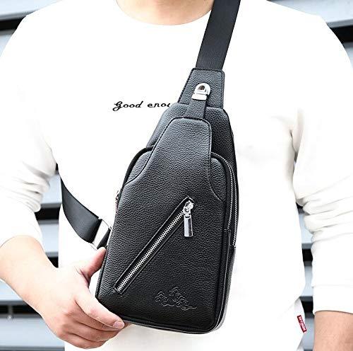 Élégant De Cuir noir Sac Mode Dos Air L'homme Épaule À Multifonction Hommes Sports Bandoulière Pu Pour En Le Plein 5tpqct