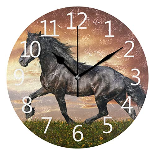 Wall Clock Running Horse Silent