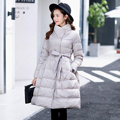 Sleeve DYF Long Grey Loose Down Jacket Coat Solid Pendulum Color XL Belt Collar rrY16w