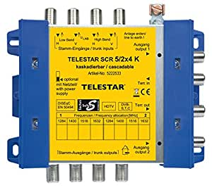 Telestar SCR 5/2x4 - Splitter/Combinador de cables (Azul, Plata, Amarillo, F)