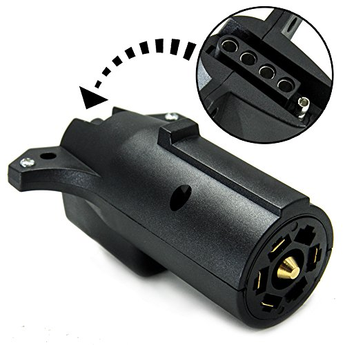 TIROL 7 Way Pin RV Blade To 5 Way Flat Trailer Wiring Adapter Trailer Light Plug Connector