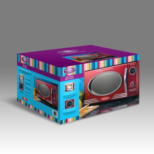 082677242211 - Nostalgia Electrics RMO400RED Retro Series .9 CF Microwave Oven, Red carousel main 3