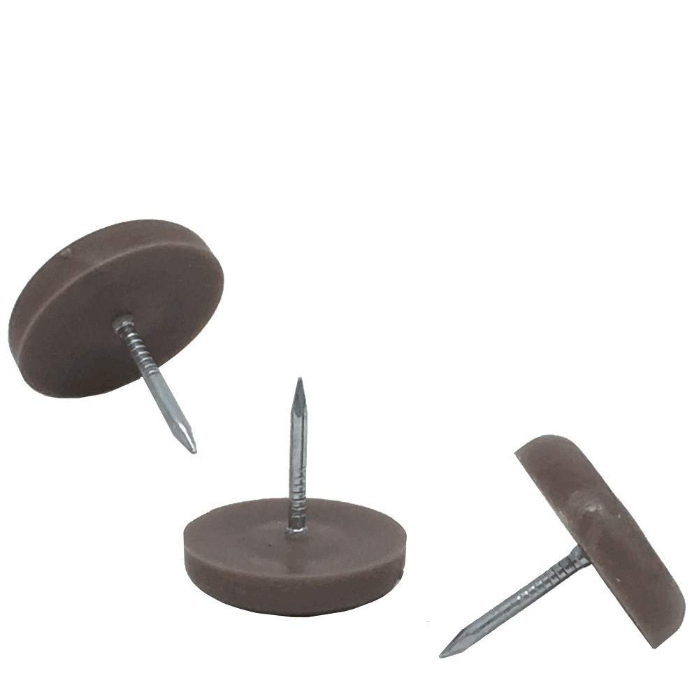 5/8'' Dia. Heavy Duty Felt Nail-on Slider Glide Pads for Chairs, Stools, Tables - Furniture Slides Like Magic -Tile & Hard Wood Floor Protector - Espresso - 50 pcs.