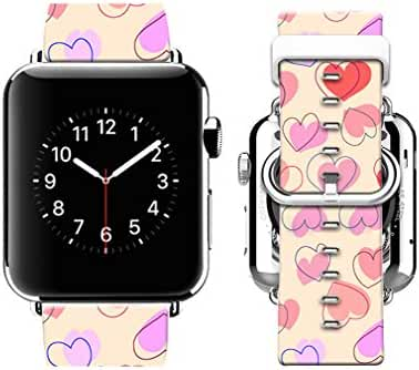 Apple Watch Band 38mm Premium Genuine Leather Strap Wrist Band w Metal Clasp for Apple Watch & Sport & Edition Navy blue floral pattern-38mm